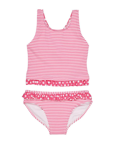 Girls Pink Polka Dot Tank Suit