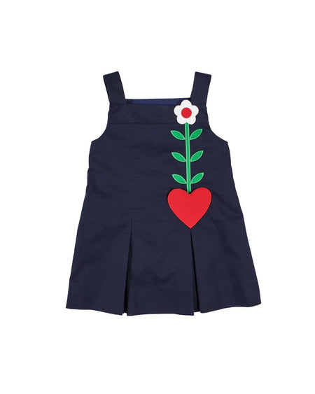 Royal Stripe Dress with Primary Color Flowers
