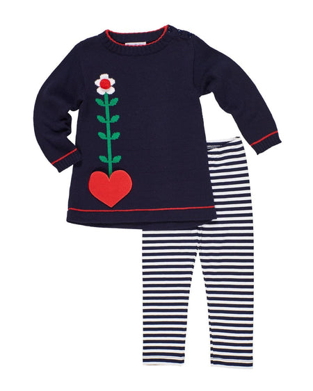 Blue Stripe Knit Dress and Legging Set with Snowflakes