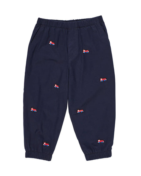 Boys Seersucker Shorts with Embroidered Trains