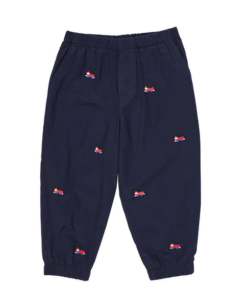 Twill Jogger Pants with Embroidered Fire Trucks - Florence Eiseman