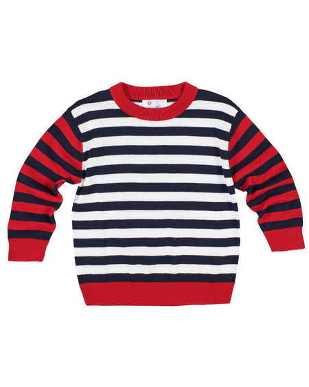Navy Stripe Knit Longall with Lumberjack Bear