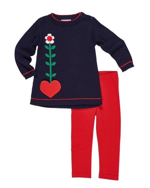 Navy Sweater Tunic w/Heart Pocket/Red Leggings - Florence Eiseman