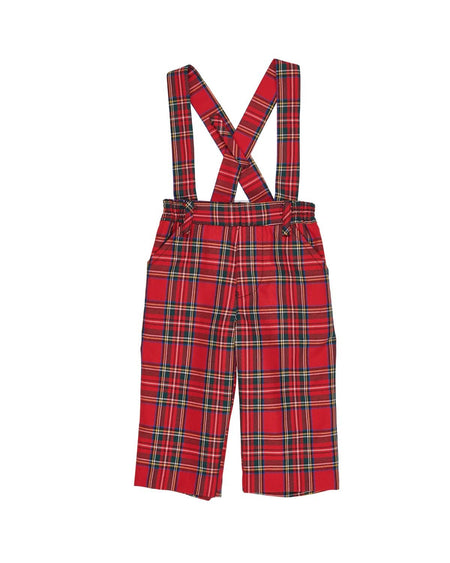 Red Corduroy Overall with Snowman