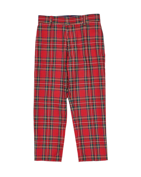 Navy/Red Plaid Boys Shortall