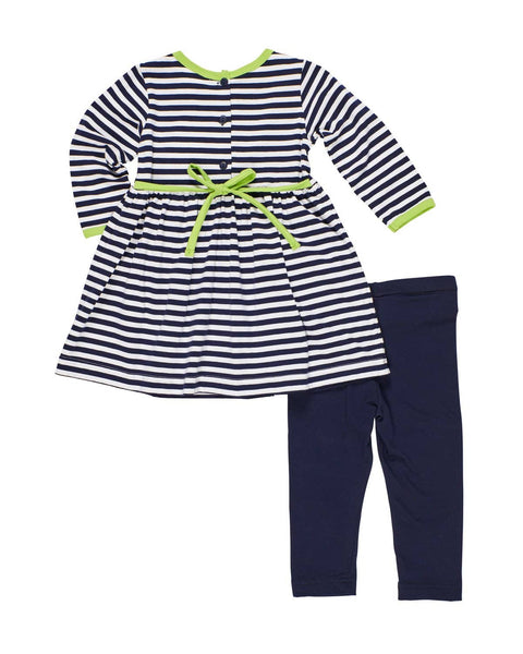 Stripe Dress with Pom Pom and Legging - Florence Eiseman