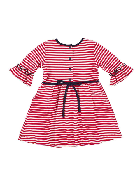 Stripe Knit Dress with Flowers - Florence Eiseman