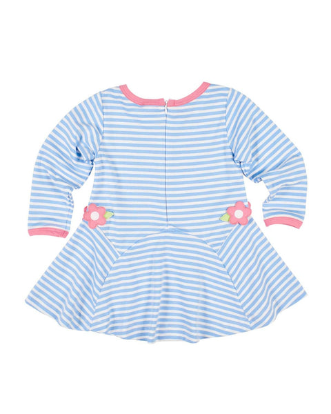 Blue Stripe Knit Dress with Applique Flowers - Florence Eiseman