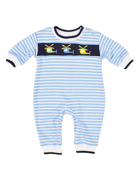 Blue Stripe Knit Helicopter Longall - Florence Eiseman