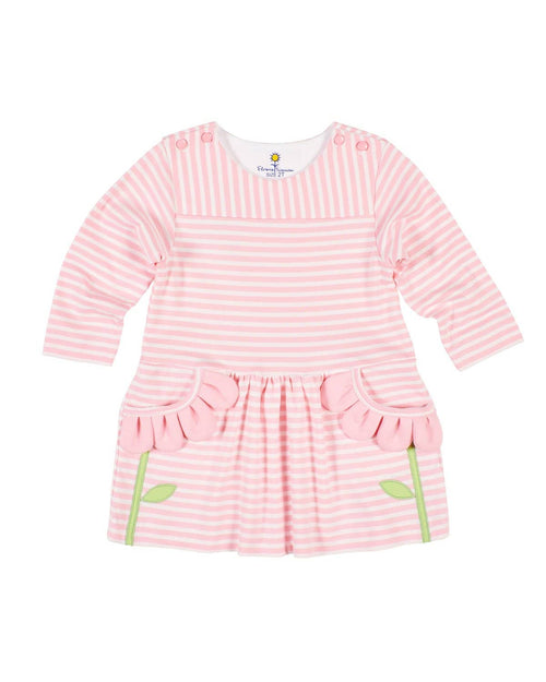 Pink Stripe Knit Dress with Flower Petal Pockets - Florence Eiseman