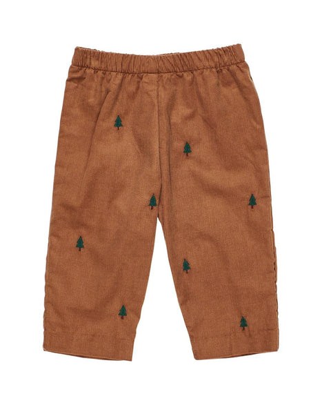Camel Corduroy Pants with Embroidered Trees - Florence Eiseman
