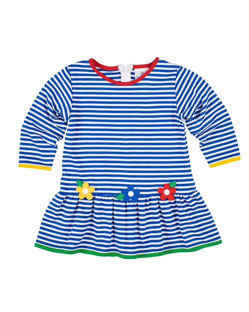 Royal Stripe Dress with Primary Color Flowers - Florence Eiseman