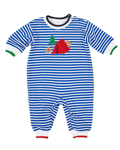 Royal Stripe Knit Longall with Camping Bear Applique - Florence Eiseman