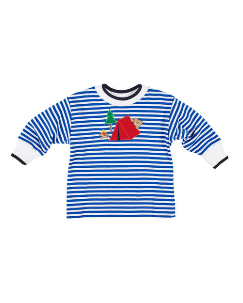 Royal Stripe Knit Shirt with Camping Bear Applique - Florence Eiseman