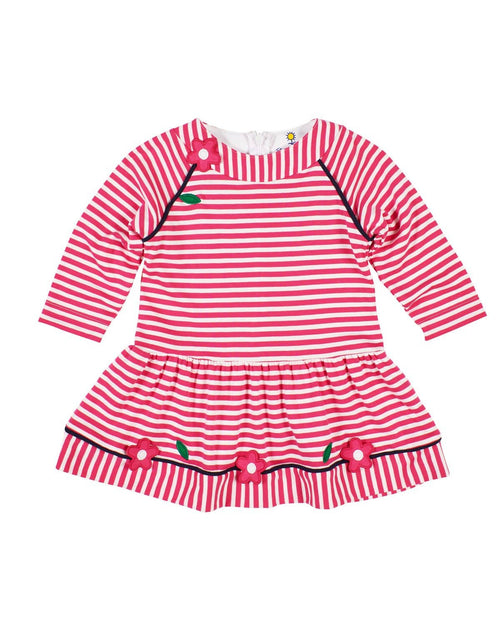 Bright Pink Stripe Knit Dress with Applique Flowers - Florence Eiseman
