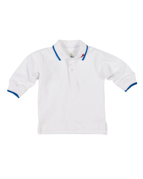 White Pique Knit Polo with Embroidered Airplane - Florence Eiseman