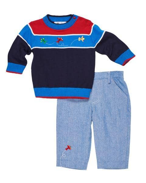 Blue Herringbone Pants with Applique Airplane