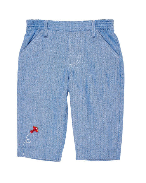 Blue Herringbone Pants with Applique Airplane - Florence Eiseman