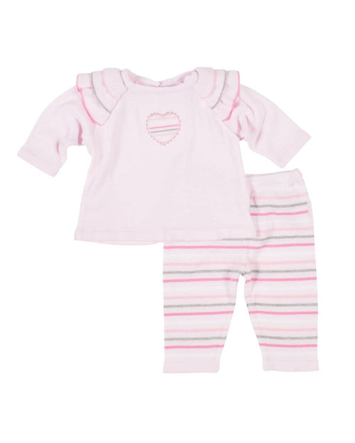 Pink Sweater Knit Set with Applique Heart - Florence Eiseman