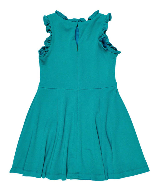 Textured Knit Dress w/Ruffled Neckline - Florence Eiseman