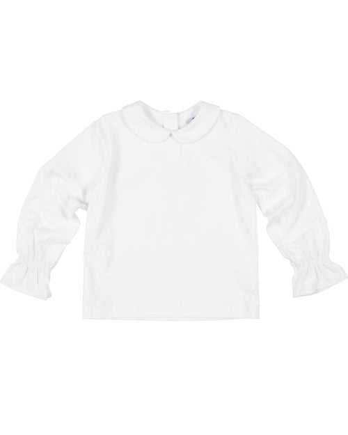 White Knit Blouse with Elastic Wrists - Florence Eiseman