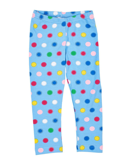 Royal Stripe Leggings with Flower Applique