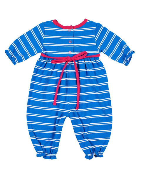 Girls Striped Romper with Flower Knees - Florence Eiseman