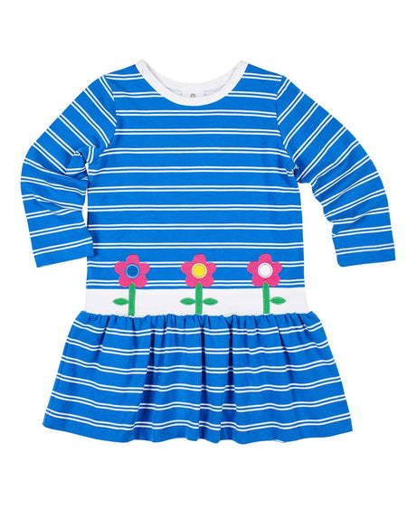 Blue Stripe Knit Longall with Applique Flowers