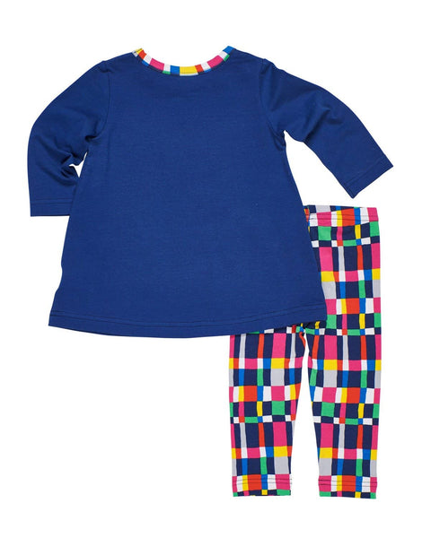 Navy Swing Top and  Plaid Leggings - Florence Eiseman