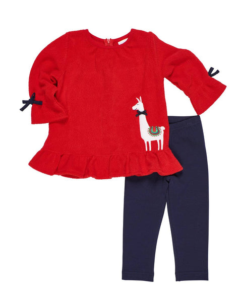 Red Fleece Top with Llama and Navy Leggings - Florence Eiseman