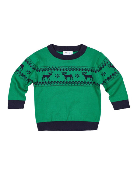 Green Stripe Knit Shirt with Reindeer Embroidery