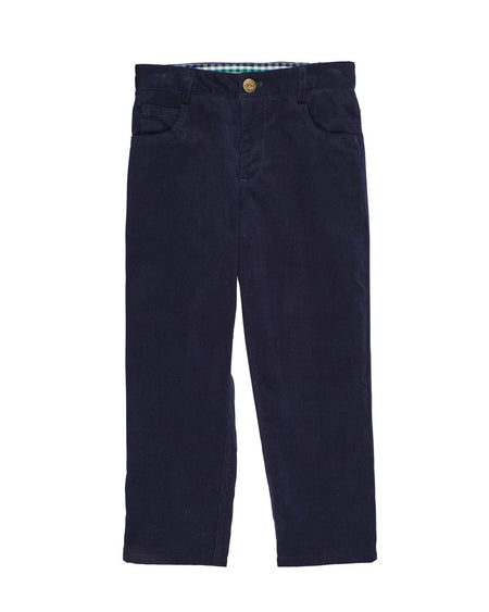 Camel Corduroy Pants with Embroidered Trees