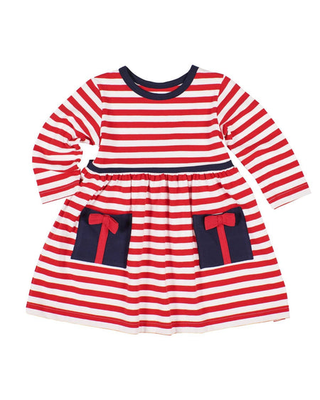 Blue Stripe Knit Dress with Applique Flowers