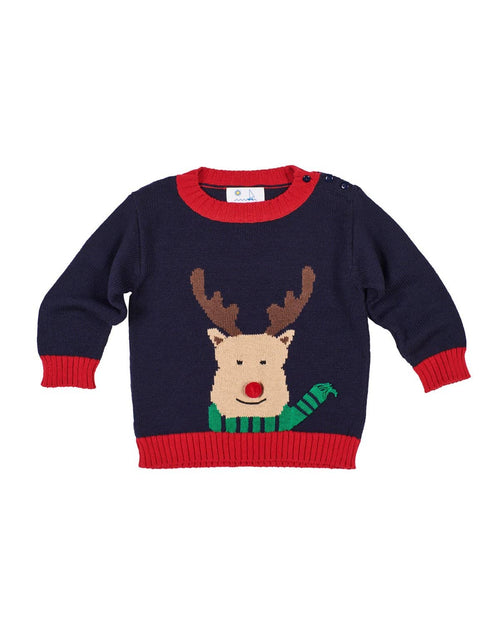 Navy and Red Reindeer Sweater - Florence Eiseman
