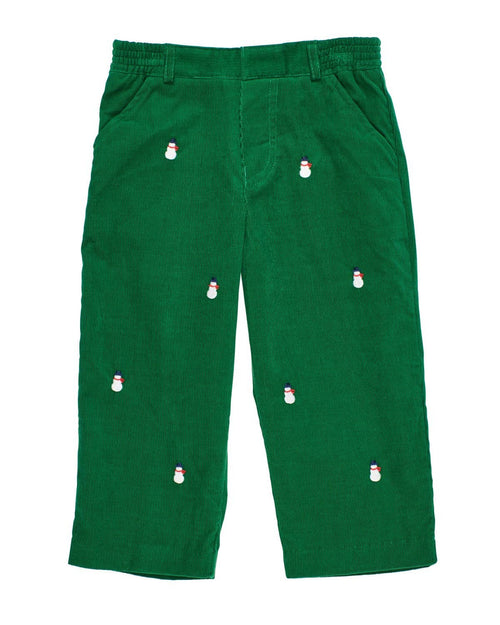Green Corduroy Pants with Embroidered Snowmen - Florence Eiseman