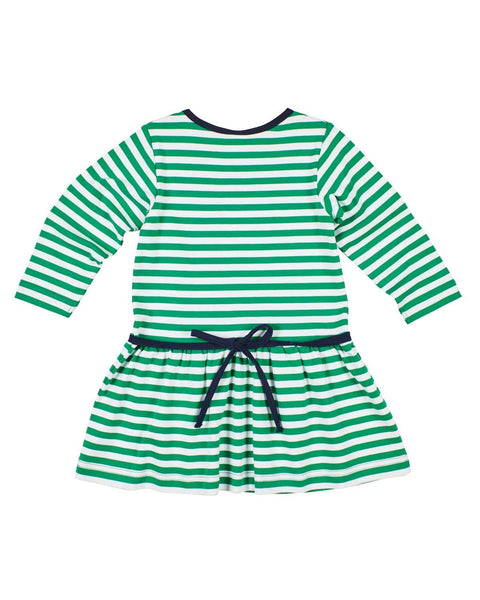 Green Stripe Dress with Circle Tree Applique - Florence Eiseman