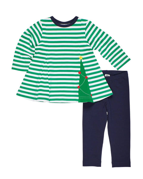 Green Stripe Christmas Tree Tunic Top with Navy Leggings - Florence Eiseman