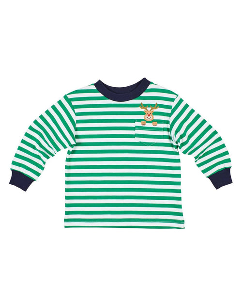 Green Stripe Knit Shirt with Reindeer Embroidery - Florence Eiseman
