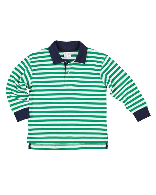 Green Stripe Knit Polo Shirt - Florence Eiseman