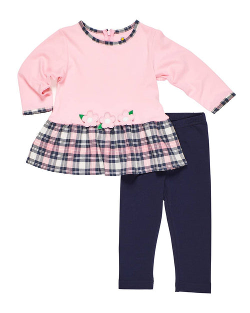 Pink and Navy Tunic and Legging Set with Flowers - Florence Eiseman