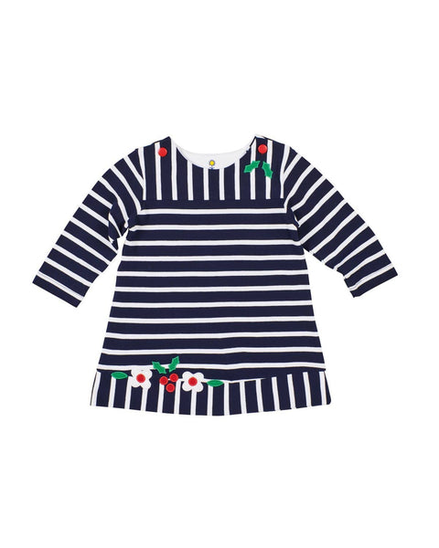 Navy Stripe Knit Dress with Holly and Flowers - Florence Eiseman