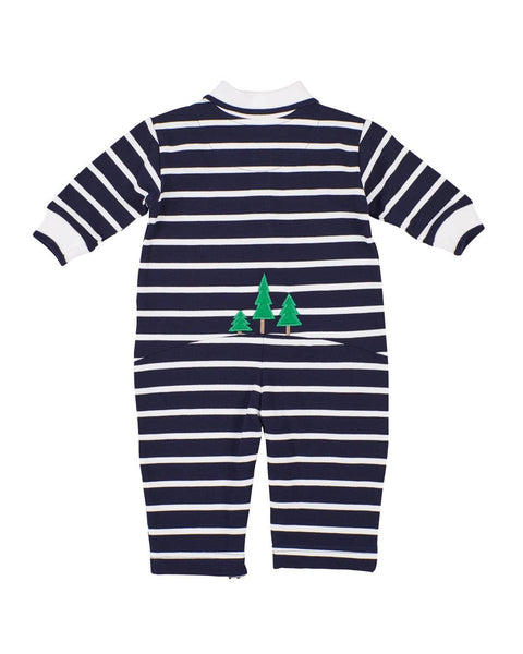 Navy Stripe Knit Longall with Lumberjack Bear - Florence Eiseman