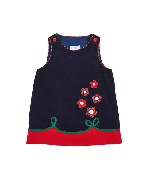 Navy and Red Corduroy Jumper with Flowers - Florence Eiseman
