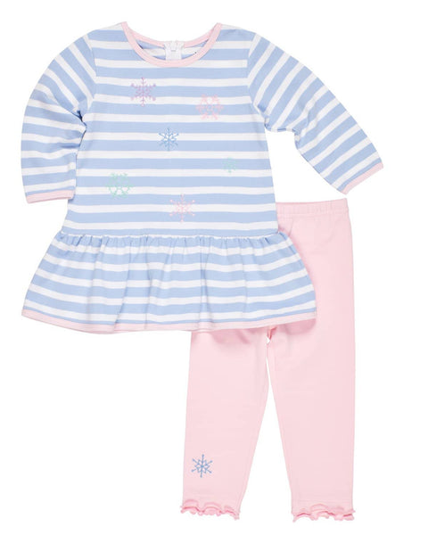Blue Stripe Knit Dress and Legging Set with Snowflakes - Florence Eiseman
