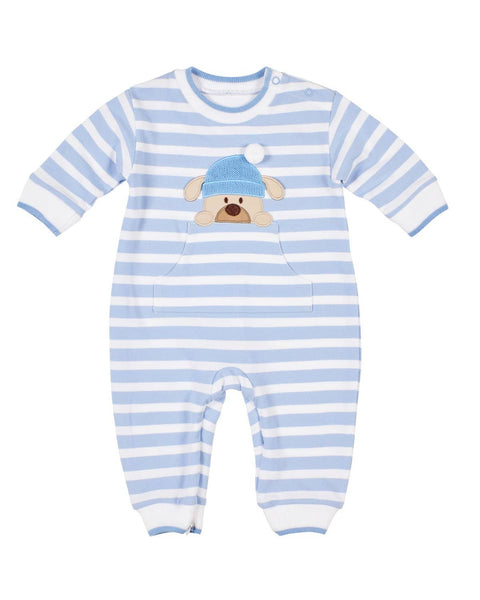 Blue Stripe Knit Longall with Puppy - Florence Eiseman