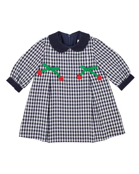 Navy Check Dress with Cherries - Florence Eiseman