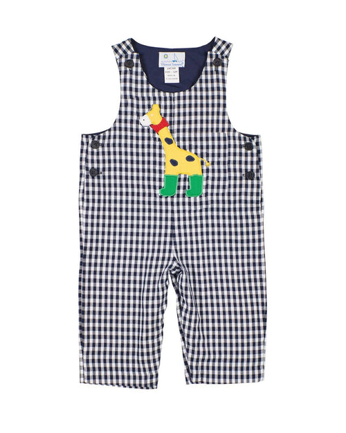 Navy and White Check Longall with Giraffe Applique - Florence Eiseman