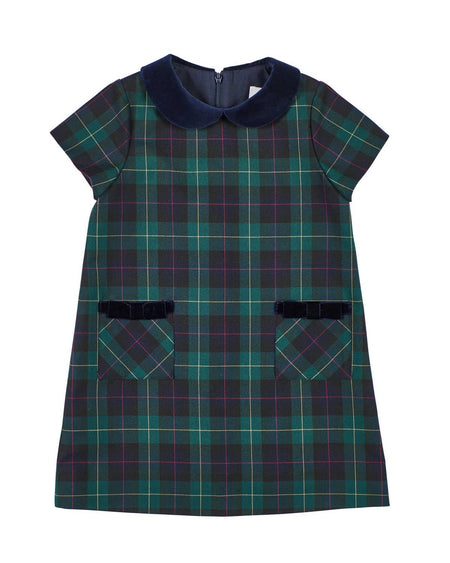 Navy Check Dress with Cherries