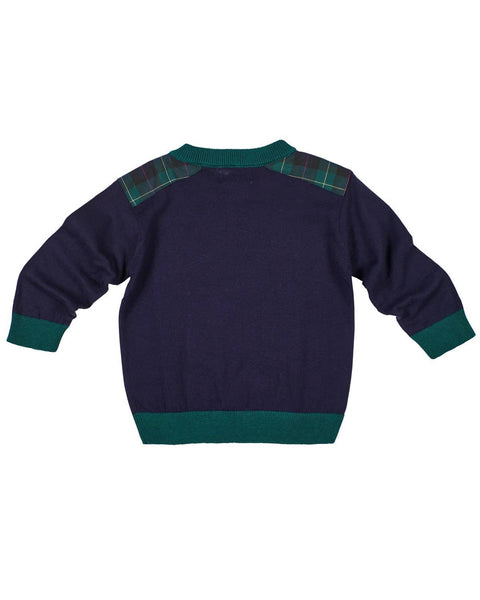 Boys Sweater with Plaid Shoulder Patches - Florence Eiseman
