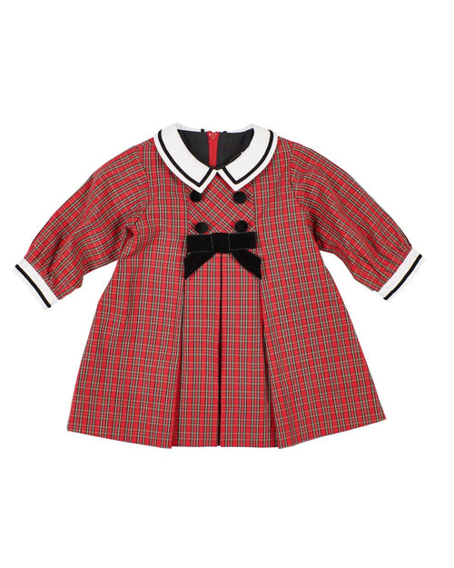 Infant and Toddler Girl Red Plaid Dress with Ribbon Trim - Florence Eiseman